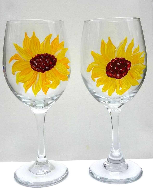 Amazoncom Hand Painted Yellow Sunflower Stemmed Wine Glasses Set