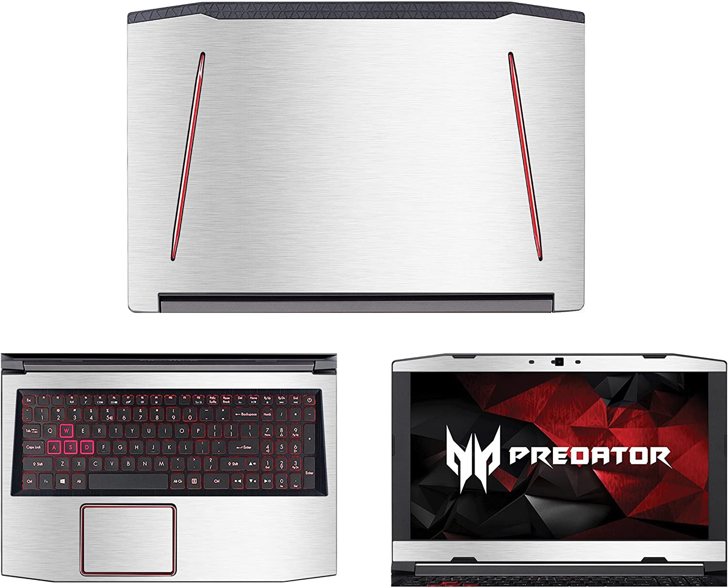 """decalrus - Protective Decal for Acer Predator Helios 300 G3-571 (15.6"""" Screen) Laptop Silver Texture Brushed Aluminum Skin case Cover wrap BAPredatorHelios300_G3-571Silver"""
