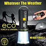 NEW Re-Wind Wind-Up Rainproof Portable LED Torch Flashlight & Lantern with Hanging Hook & Wrist Strap - No Batteries Required - Ideal for Walking, Hiking, Camping, Festivals, Power Cuts, Shed, Caravans, SOS Emergency Light - 2 Year Warranty Included