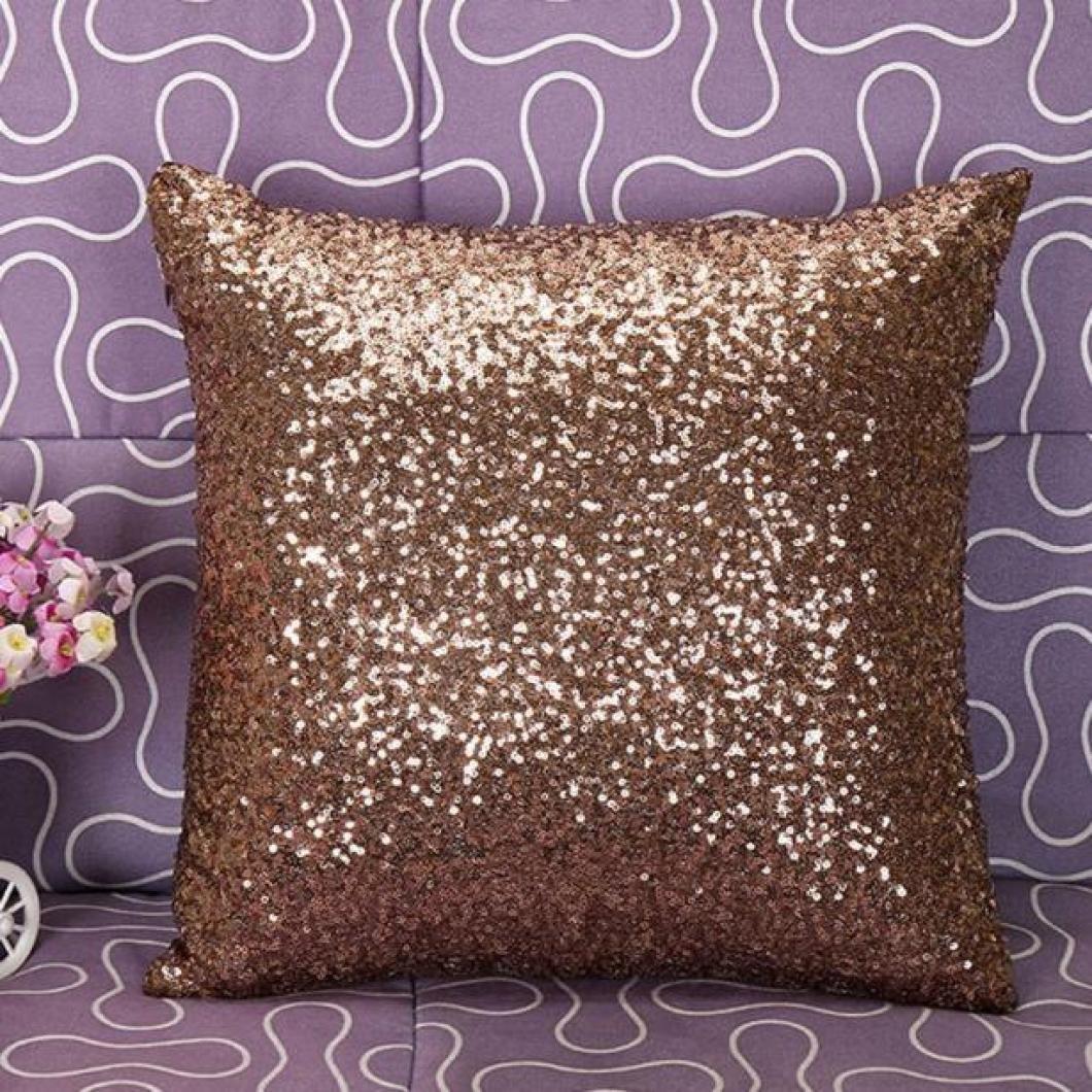 Viahwyt 2/dimensioni solido colore glitter paillettes cuscino quadrato semplice guanciale per auto divano ristorante Home Decor 40x40 Silver