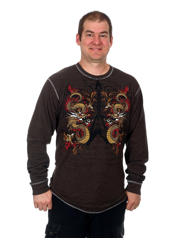 Amazon.com : Men's Graphic Print Long Sleeve Thermal Style Shirt ...