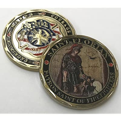 Aizics ST. Florian - Patron Saint of Firefighters - Beautiful Challenge Coin - Honor - Sacrifice - Courage - Duty: Toys & Games