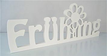Schriftzug Fruhling Mit Blume In Weiss Frei Stellbar Fruhlings