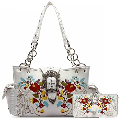 Western Style Buckle Embroidery Flower Concealed Carry Purse Handbags Women  Shoulder Bag Wallet Set White