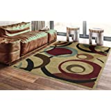Ottomanson Royal Collection Contemporary Abstract Circle Design Area Rug, 5'3 X 7'0, Beige