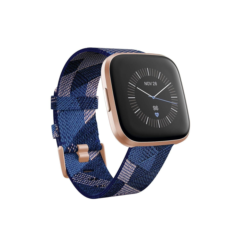Fitbit Versa 2 - Smartwatch de salud y forma física, Textil en azul marino y rosa (Edición Especial)