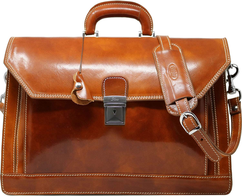Floto Venezia Laptop Briefcase in Brown