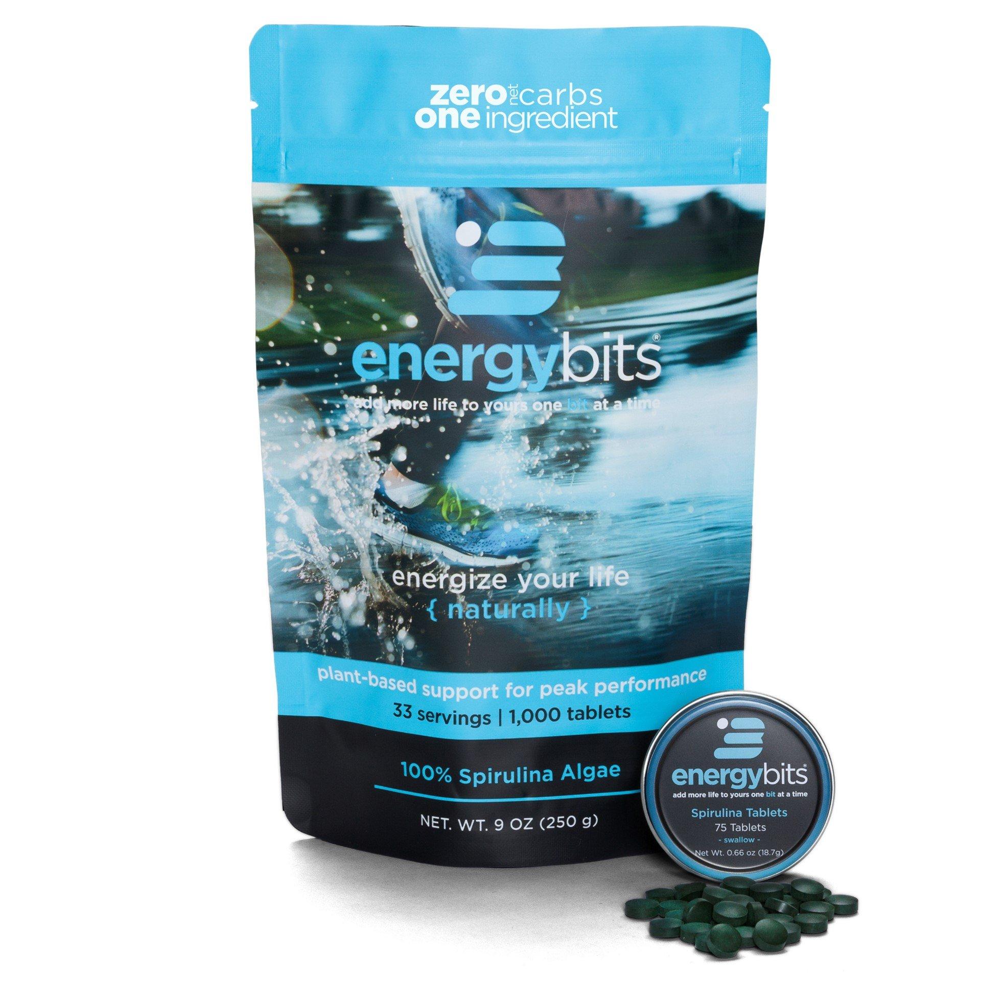 ENERGYbits Pure Organic Spirulina Tablets – Bag of 1,000 Tablets (250mg per tablet) – Non-GMO, Non-Irradiated, Raw, Blue Green Algae – Keto, Paleo, Vegan Friendly