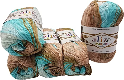 Alize Bahar 5 ovillos de 100 gramos de algodón mercerizado ...