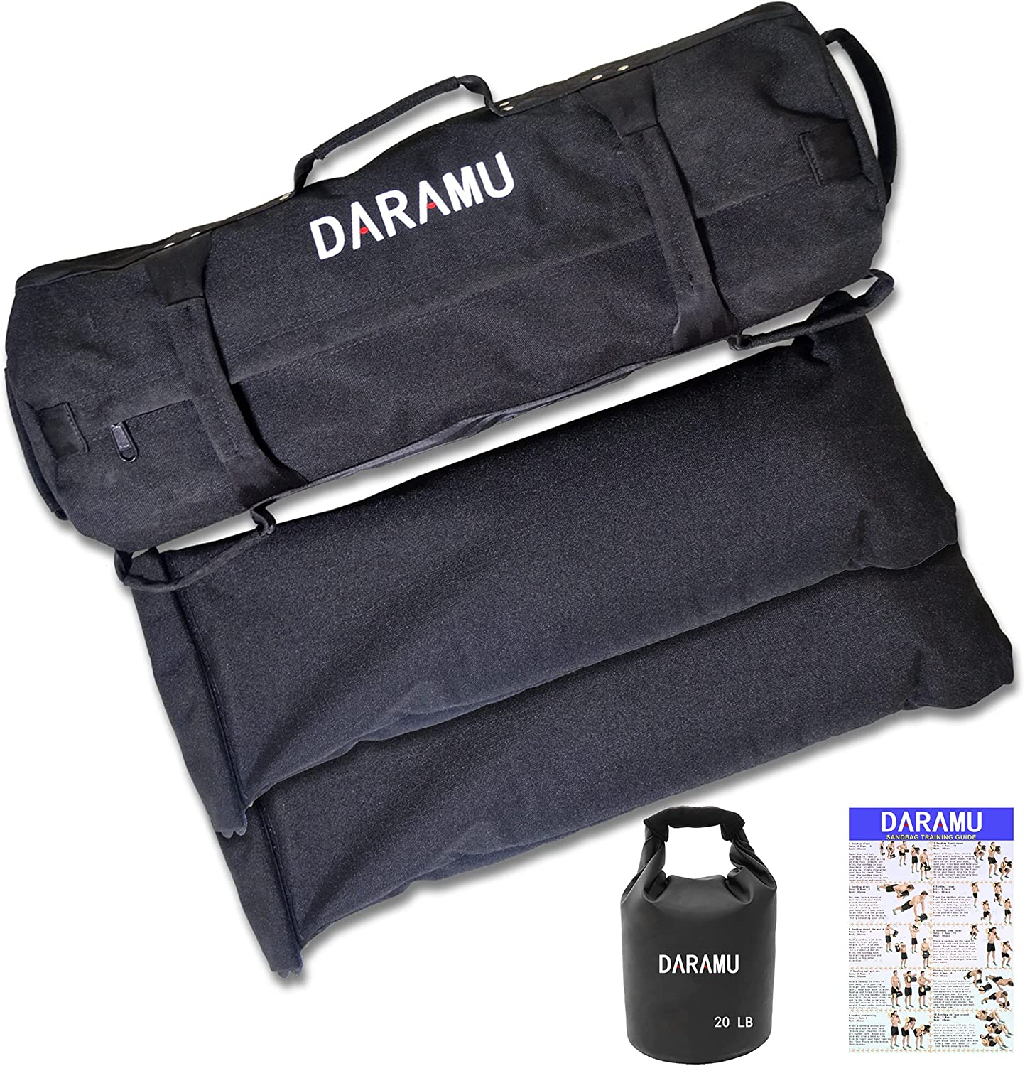 DARAMU Workout Sandbag for Fitness Reinforced Heavy Duty Weight 60LB/120LB Sand Bag, Ideal for Crossfit, Cross-Training, Military Conditioning and Home Gym Exercise