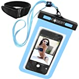 Kobert Waterproof Cell Phone Case (Pro Blue), Dry Bag Pouch for iPhone 8, 8 Plus, X, 6s, 6s Plus Samsung Galaxy s7, s7 Edge, s6, Any Phone Up To 6 inches - Blue Strap and Armband