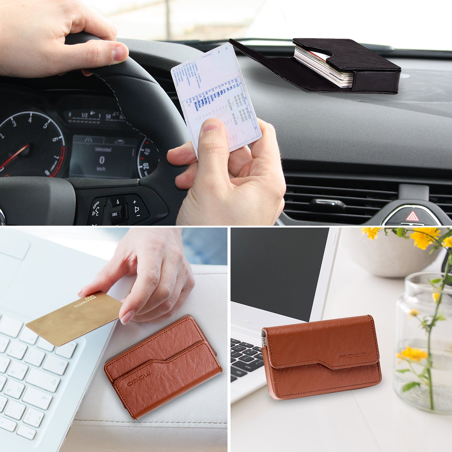 Brown Business Card Holder ID Card Case MoKo Professional Premium PU Leather Universal Credit Card Name Card Holder Wallet Organizer with Magnetic Shut