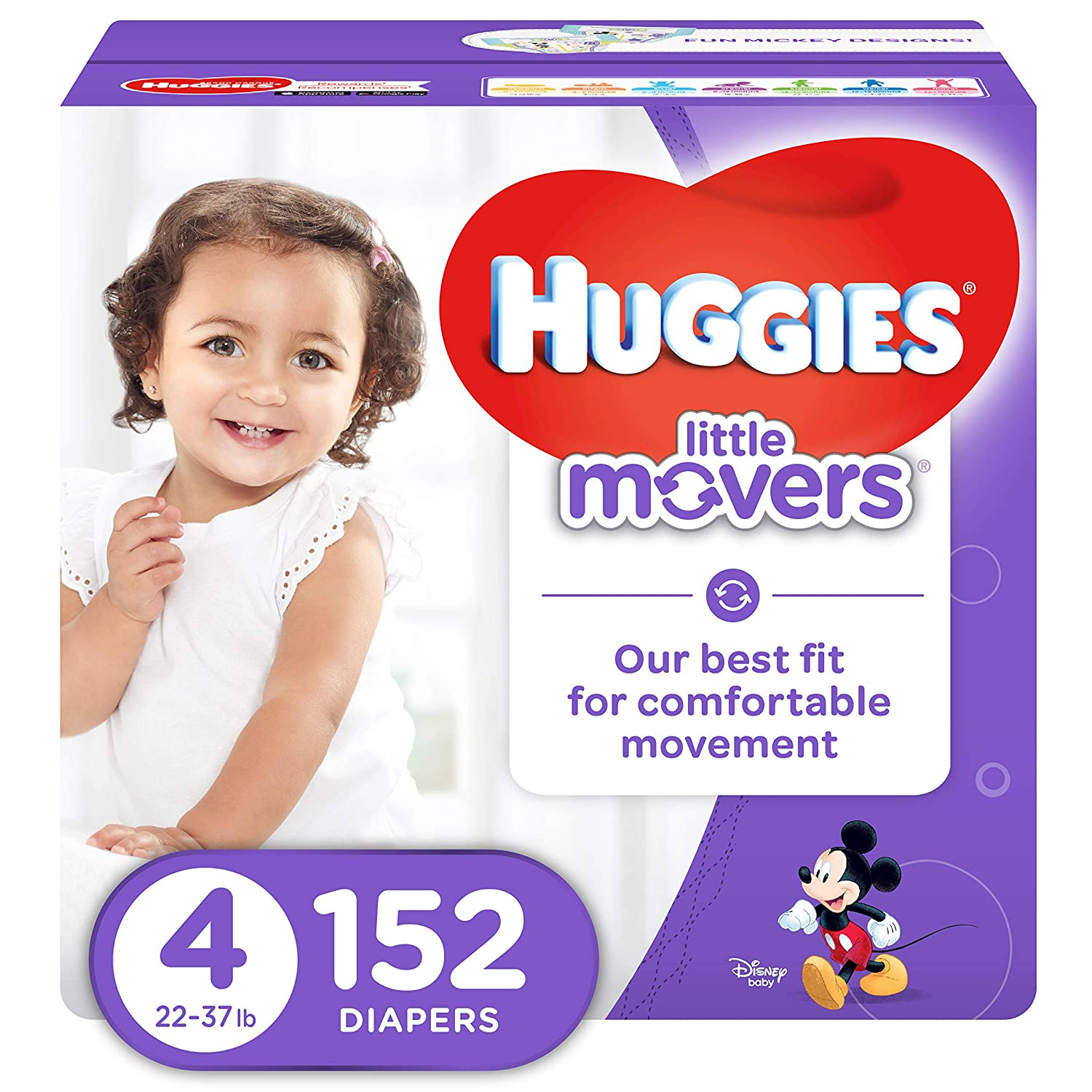 Huggies Little Movers Active Baby Diapers Size 4 Fits 22 37 Lb 152 Ct Economy Plus