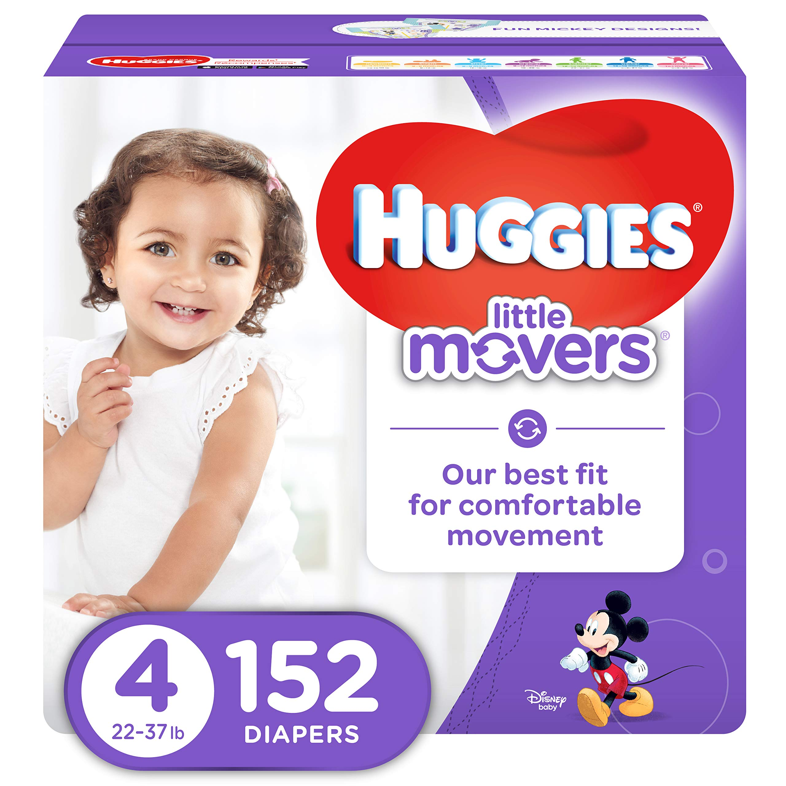 HUGGIES LITTLE MOVERS Active Baby Diapers, Size 4 (fits 22-37 lb.), 152 Ct, ECONOMY PLUS (Packaging May Vary) by HUGGIES