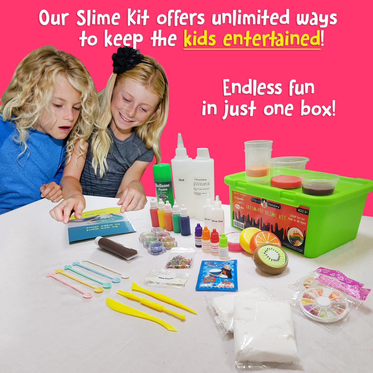 Ultimate Slime Kit Supplies Stuff for Girls and Boys Making Slime [EVERYTHING IN ONE BOX] Kids can Make Unicorn, Glitter, Cloud, Rainbow Slimes and More. Includes Glue and Full instructions. by Original Stationery (Image #2)