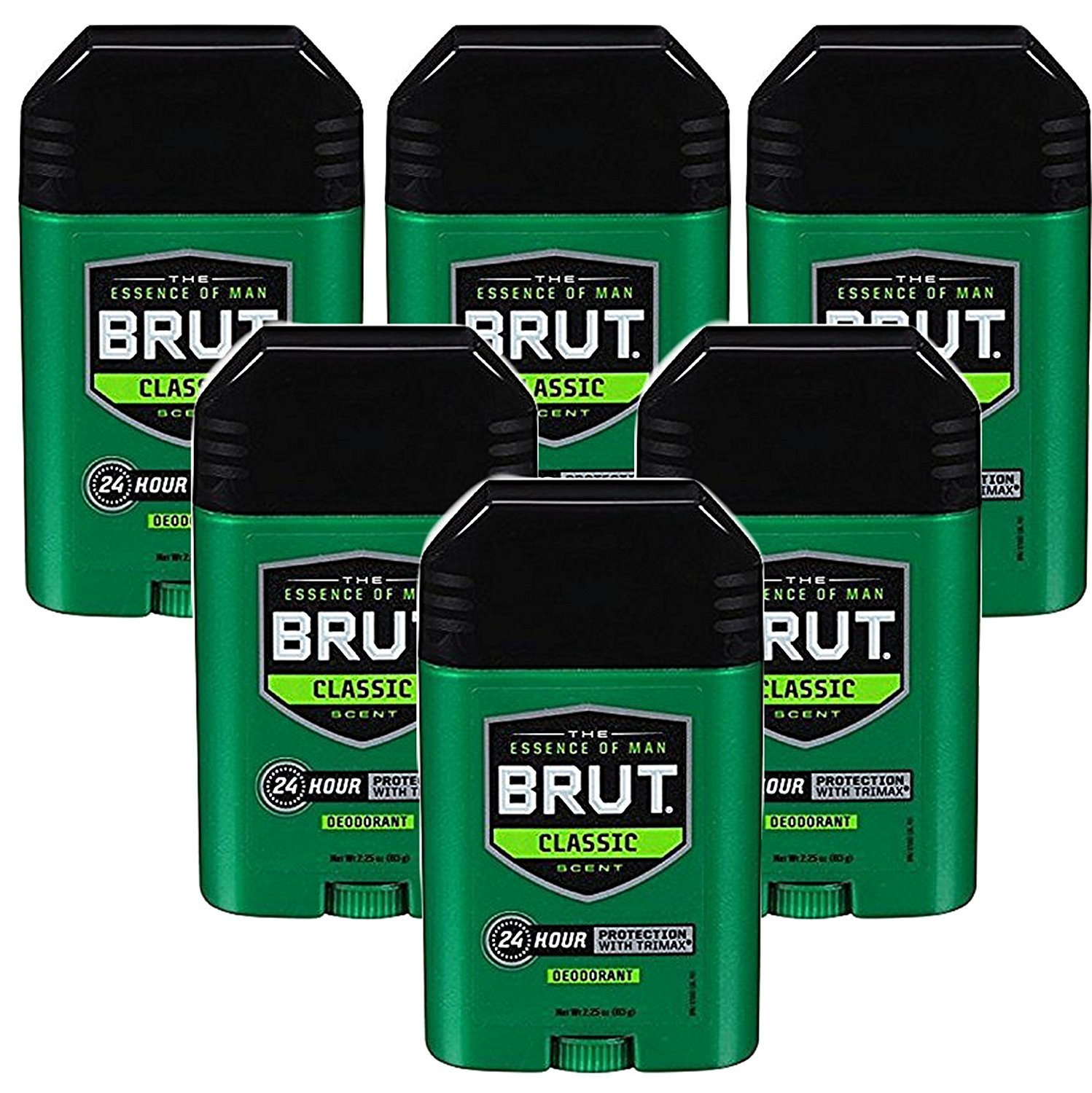 Brut Deodorant Original Fragrance 2.25 Oz/63 G (Pack of 6)