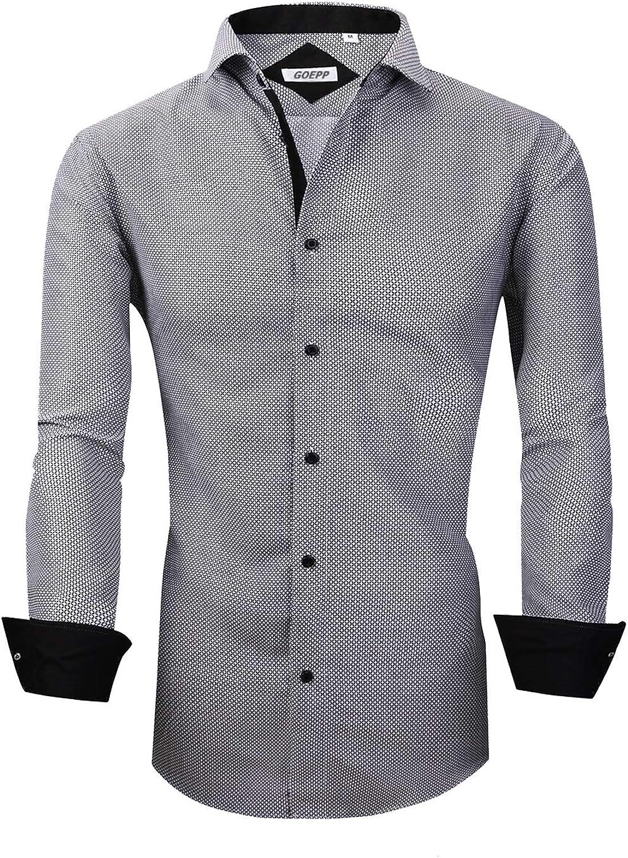 Rabrgab Men's Dress Shirt Regular Edition Long Sleeve Shirt, Premium Soft Formal or Casual Button Down Shirts for Men