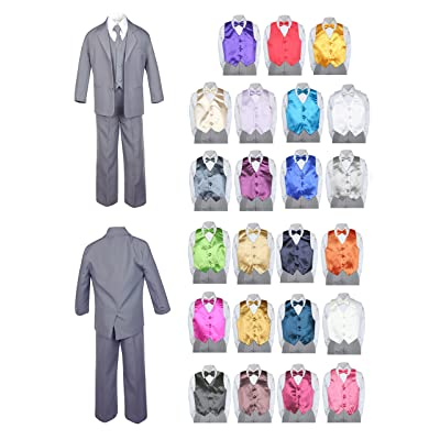 Unotux 7pc Baby Toddler Boy Formal Party Medium Gray Suit w/Satin Vest & Bow Tie Sm-20