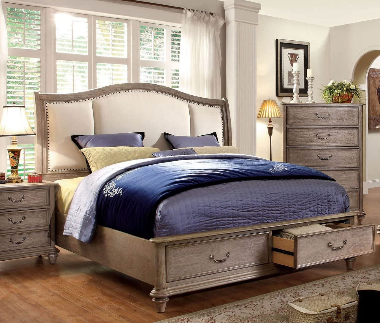 Esofastore 4pc Bedroom Furniture Set Antique White Finish California King Size Arched Shaped Hb Fb Bed Formtech Inc Com