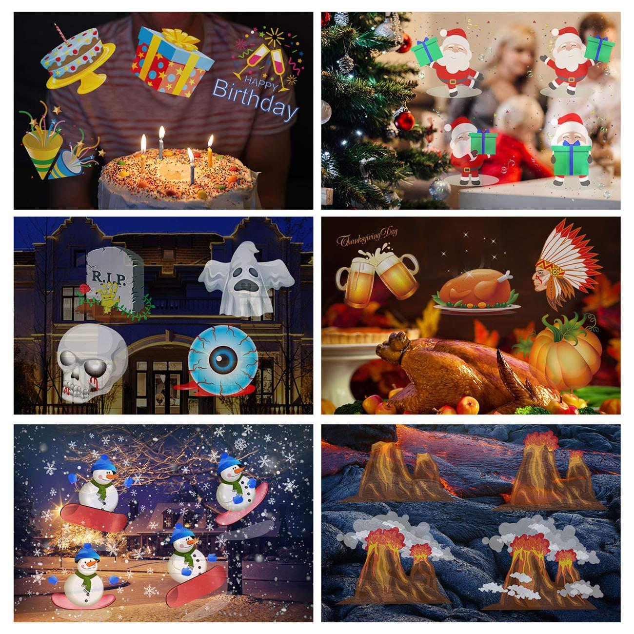 Proyección luces de Navidad 10 patrón luz proyector con mando a distancia Interior y Exterior Jardín Decoración Iluminación Exterior Navidad Halloween ...