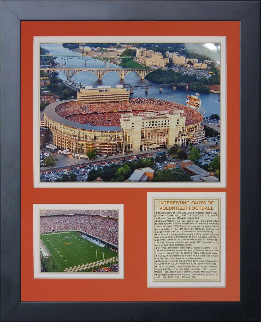 11 by 14-Inch Legends Never Die University of Tennessee Neyland Stadium Framed Photo Collage