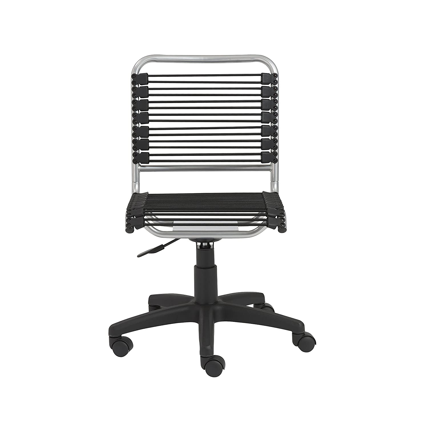 Euro Style Bungie Low Back Adjustable Office Chair, Black Bungies with Aluminum Frame
