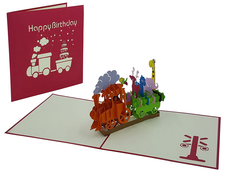 - tarjetas emergentes hecho a mano mono, loro, ardilla, alce, pony, elefante y jirafa Tarjeta de cumplea/ños 3D sobre inclusivo y cubiert tren de cumplea/ños con animales amantes de los detalles