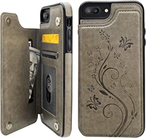 Vaburs iPhone 7 Plus iPhone 8 Plus Case Wallet with Card Holder, Embossed Butterfly Premium PU Leather Double Magnetic Buttons Flip Shockproof Protective Cover for iPhone 7/8 Plus Case(Gray)
