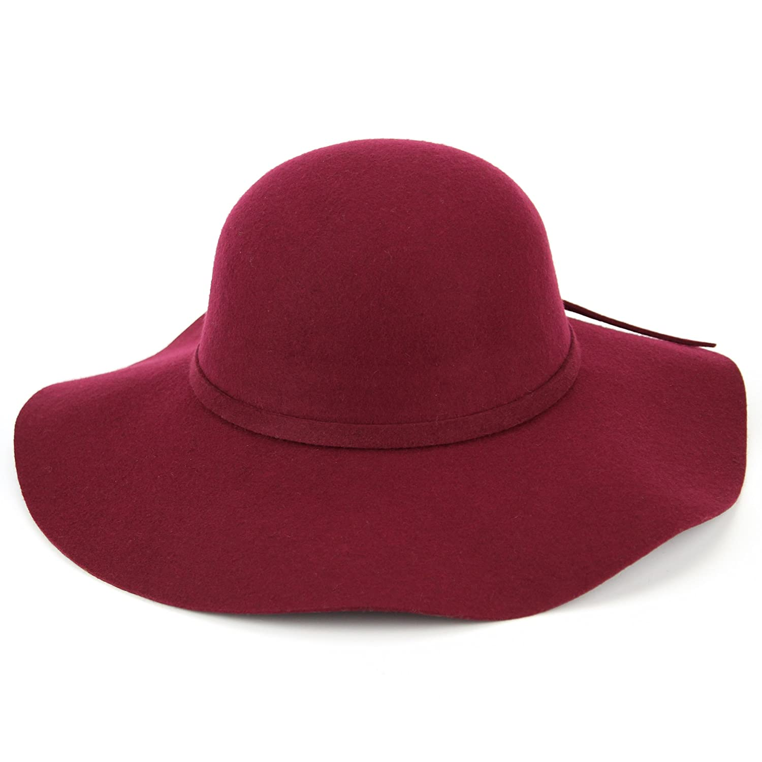 0ee6c50218c Macahel ladies wide brim wool felt floppy hat - Maroon  Amazon.co.uk   Clothing