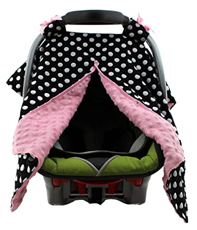 Dear Baby Gear Carseat Canopy Polka Dots White On Black Pink Minky