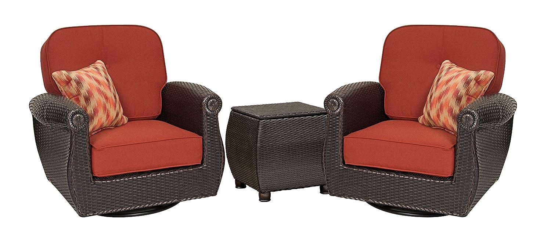 Amazon.com : La Z Boy Outdoor Breckenridge Resin Wicker Swivel Rocker 2  Piece Patio Furniture Set (Brick Red) With All Weather Sunbrella Cushions :  Garden U0026 ...