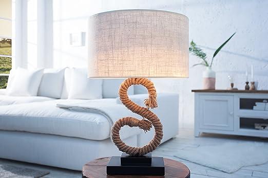 Tischleuchte 50cm Modern Kunstvolle Maritime Säule Aus Echtem Tau Design  Tischlampe Wohnzimmer