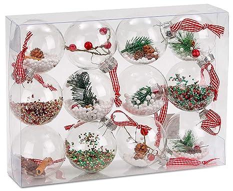 Christbaumkugeln Amazon.Brubaker 12 Teiliges Set Acryl Weihnachtskugeln Christbaumkugeln Transparent Befullt O 8 Cm