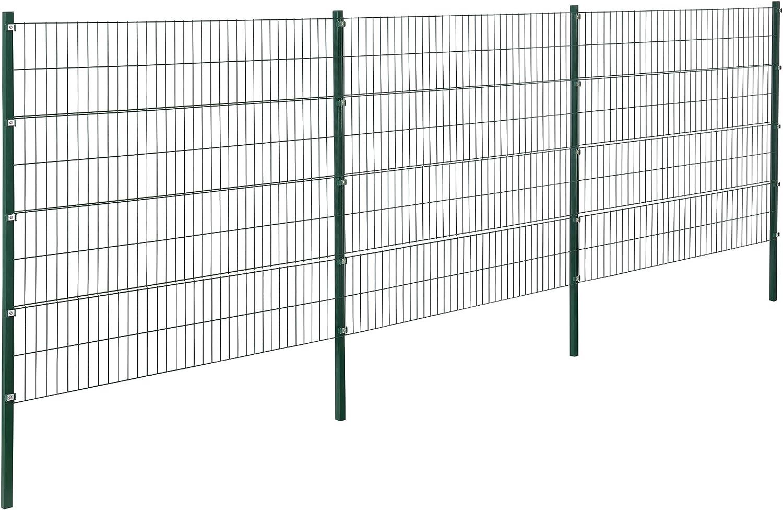 pro.tec Hojas cerca del jardín cercado Conjunto barra doble rejilla Mats malla de hierro de malla metálica de la cerca para 6 m 6 x 1