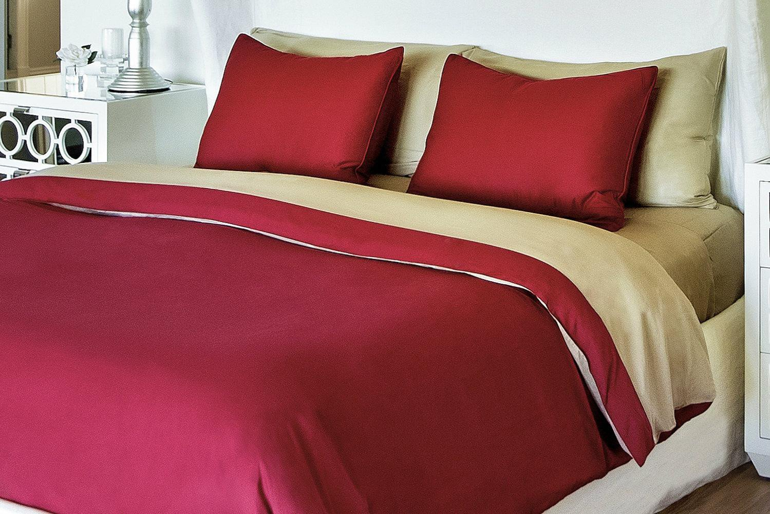 Bedvoyage Decorative Bedding Duvet Cover - Full - Champagne / Cayenne [Reversible] by BedVoyage