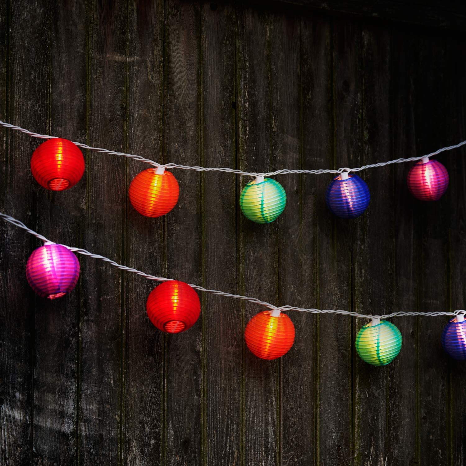 Amazon Com Multicolor Lantern String Lights 20 Colored Nylon Hanging Mini Lanterns With Warm White Bulbs 13 Feet Long Waterproof For Indoor Outdoor Lighting Plug In Connect Up To 22 Strands Home Improvement