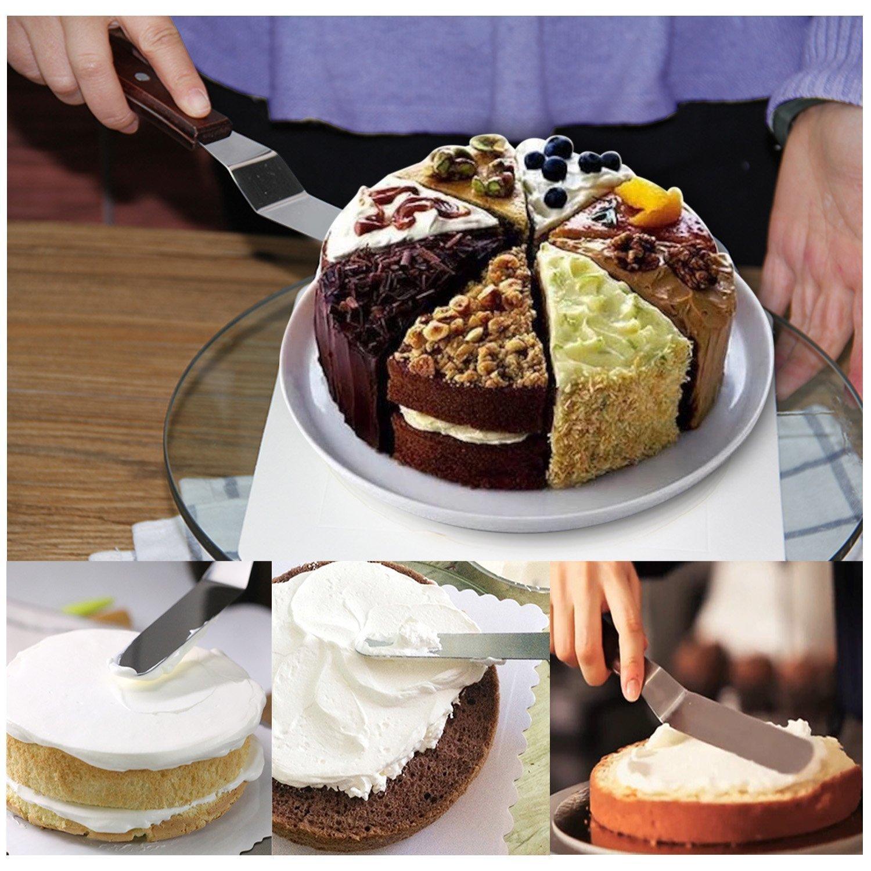 3 paletas para alisar Plato para tartas Queta 1 divisor de corteza soporte para decorar tartas horneadas giratorio 2/esp/átula de glaseado con accesorios