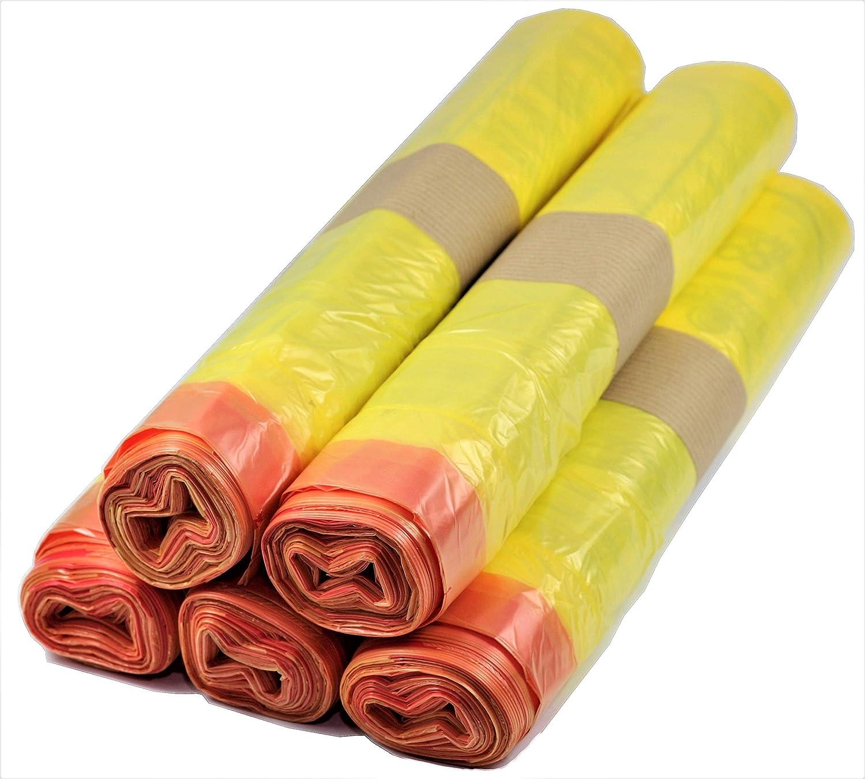5 bis 500 Rollen Gelber Sack, Gelbe Säcke 90 Liter, 15µ /(5 Rollen ...