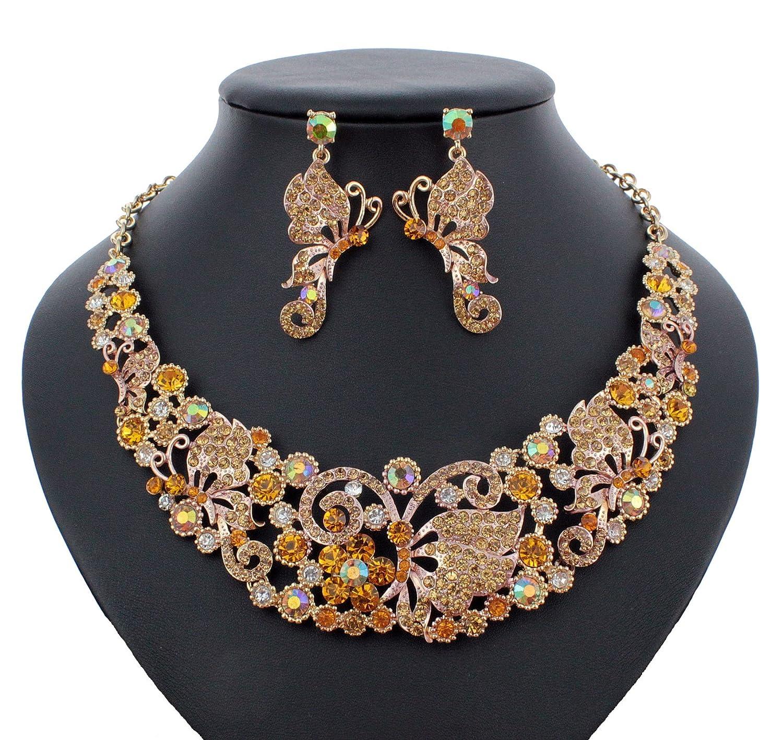 Amazon.com  Janefashions Butterfly Austrian Crystal Rhinestone Necklace  Earrings Set Prom Bridal N918  Jewelry f7a69134ad9a