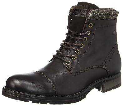 da8de63622fa3d Jack & Jones Jfwmarly Leather Bison, Bottes Classiques Homme, Noir, ...