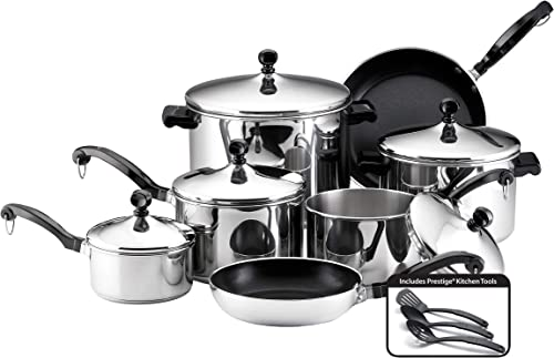 Farberware Classic Stainless Steel Cookware Pots and Pans 15-piece set