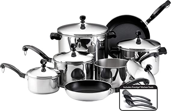 Farberware 50049 Classic Stainless Steel Cookware Pots and Pans Set