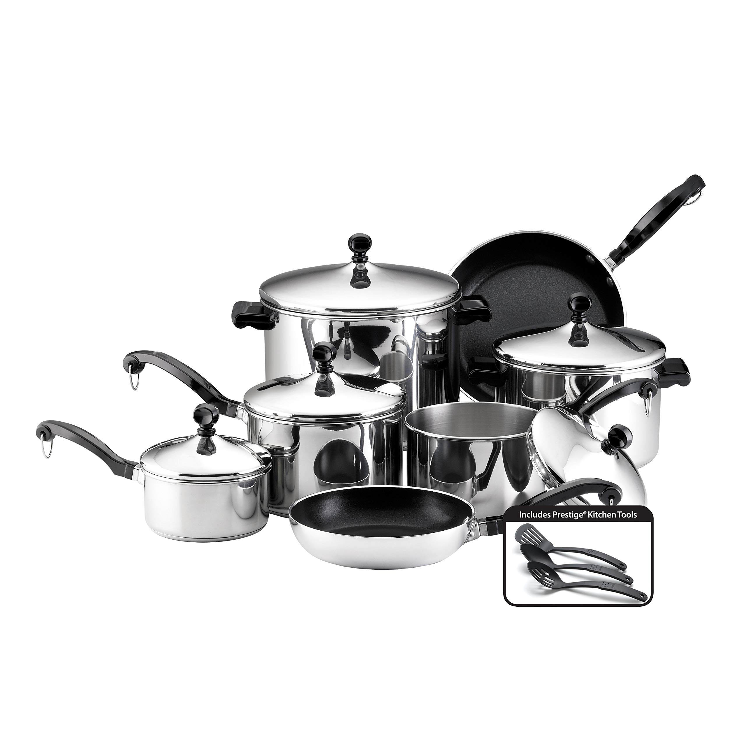 Farberware 50049 Stainless Steel Cookware Set, 15-Piece