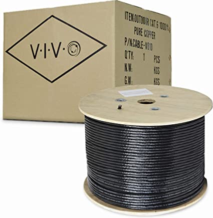 1000ft Pure Copper CAT6 UV//CMX Waterproof Outdoor Direct Burial Network Cable