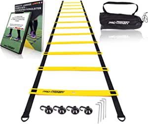 PRO IDENTITY Escalera de agilidad de 6m para fútbol entrenamiento incluye un 6+ min VIDEO INTRODUCTORIO GRATUITO + e-book Para IMPRIMIR con un práctico bolso, ganchos y ventosas: Amazon.es: Deportes y aire