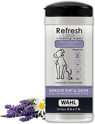 Wahl Pet Refresh Lavender Cleaning Wipes for All Dog Breeds - Use on Ears, Nose, Paws, Bottom, & Sensitive Areas - 50 Wipes