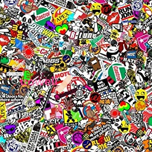 "Autool 60""x20"" JDM PANDA CARTOON GRAFFITI CAR STICKER BOMB WRAP SHEET DECAL VINYL DIY"