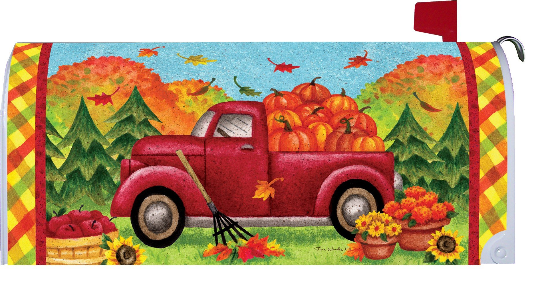 Fall Truck Mailbox Makover Cover - Vinyl witn Magnetic Strips for Steel Standard Rural Mailbox - Copyright, Licensed and Trademarked by Custom Decor Inc.