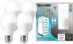 MiracleLED 604060 Refrigerator and Freezer Long Life LED Energy Saving Cool Light (4-Pack) Replacing Old, Hot 40W Incandescent Bulbs, Piece