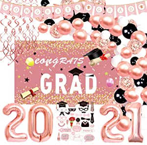 Graduation Decorations 2021 - Rose Gold Graduation Party Supplies Including Grad Banner, Graduation Backdrop, Hanging Swirls, Grad Balloons Garland Kit, and Photo Booth Props for Grad Decor | Pink